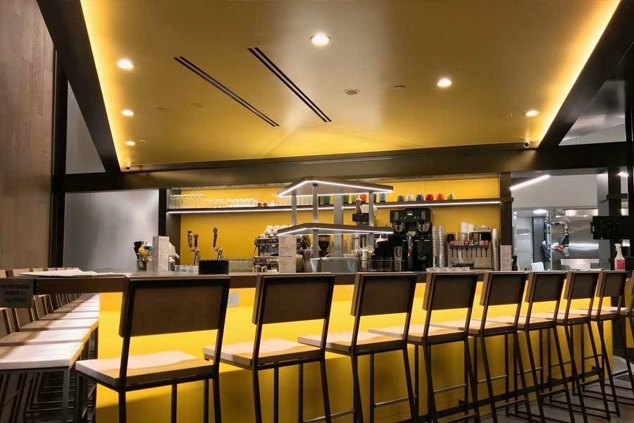 Bar view of our Restuarant lighting installation for Hatch Restaurant