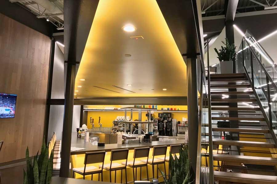 Restuarant lighting installation entry view for Hatch Restaurant