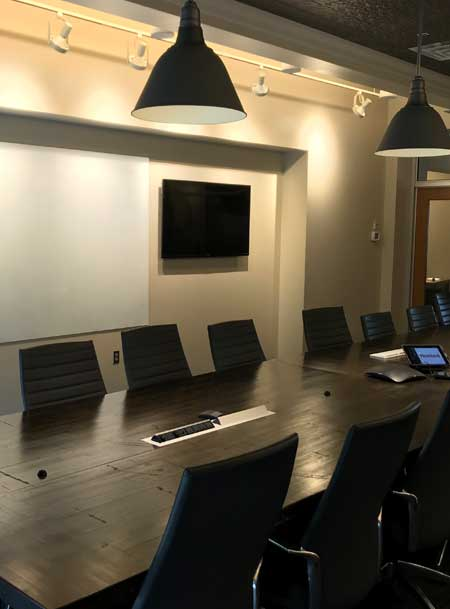 image of our aesthetically cooridinated solution for a conference room smart system