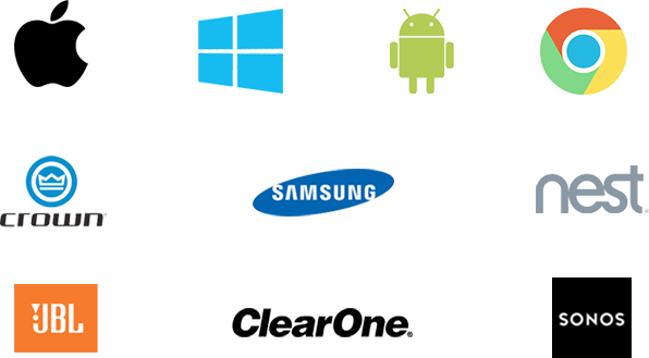 The top industry brands we work with include: Apple, WIndows, Android, Chrome, Samsung, Clearone, Nest, Jbl, Crown and Sonos